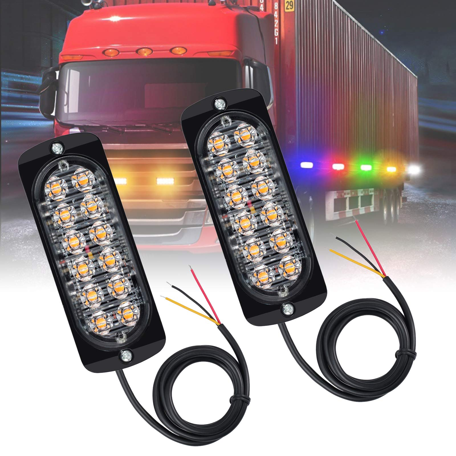 Justech 72LEDs 18W Car Emergenecy Warning Flashing Lights Amber Hazard Beacon Lights Bar Recovery Strobe Light 12V 24V with Magnetic Base for Car Vehicle Truck Trailer