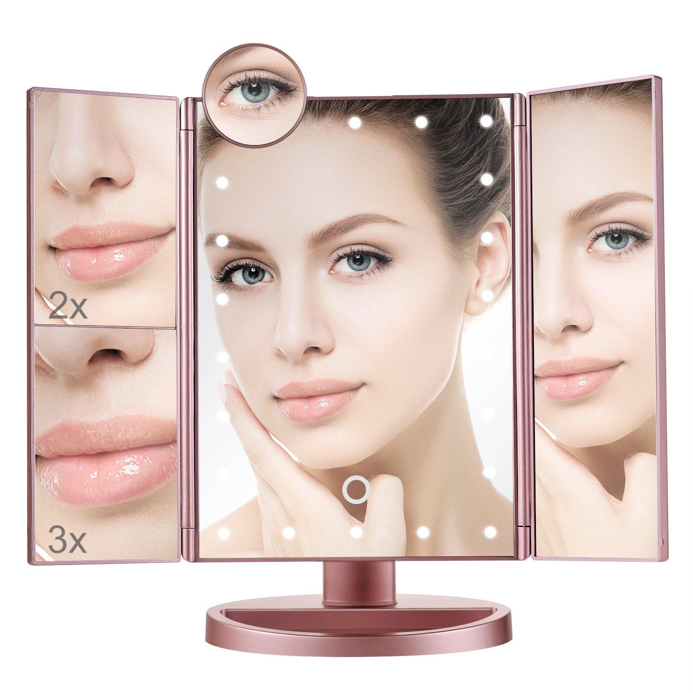 Miroir Maquillage, Miroir Grossissant Lumineux, Miroir de Poche Grossissement 2X/3X/10X Miroir Éclairé de Voyage pour Cosmétique et Soin de Peau Aiskki FC008-BK