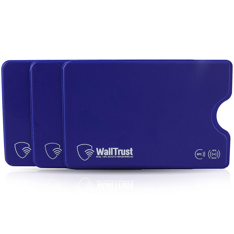 WallTrust RFID Schutzhülle für Kreditkarten, Plastik, TÜV, 3er Set, Blau