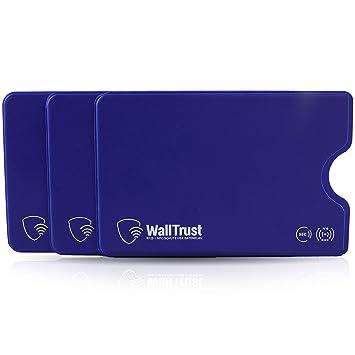 WallTrust Funda Protectora RFID para Tarjetas de crédito, Juego de 3, Azul