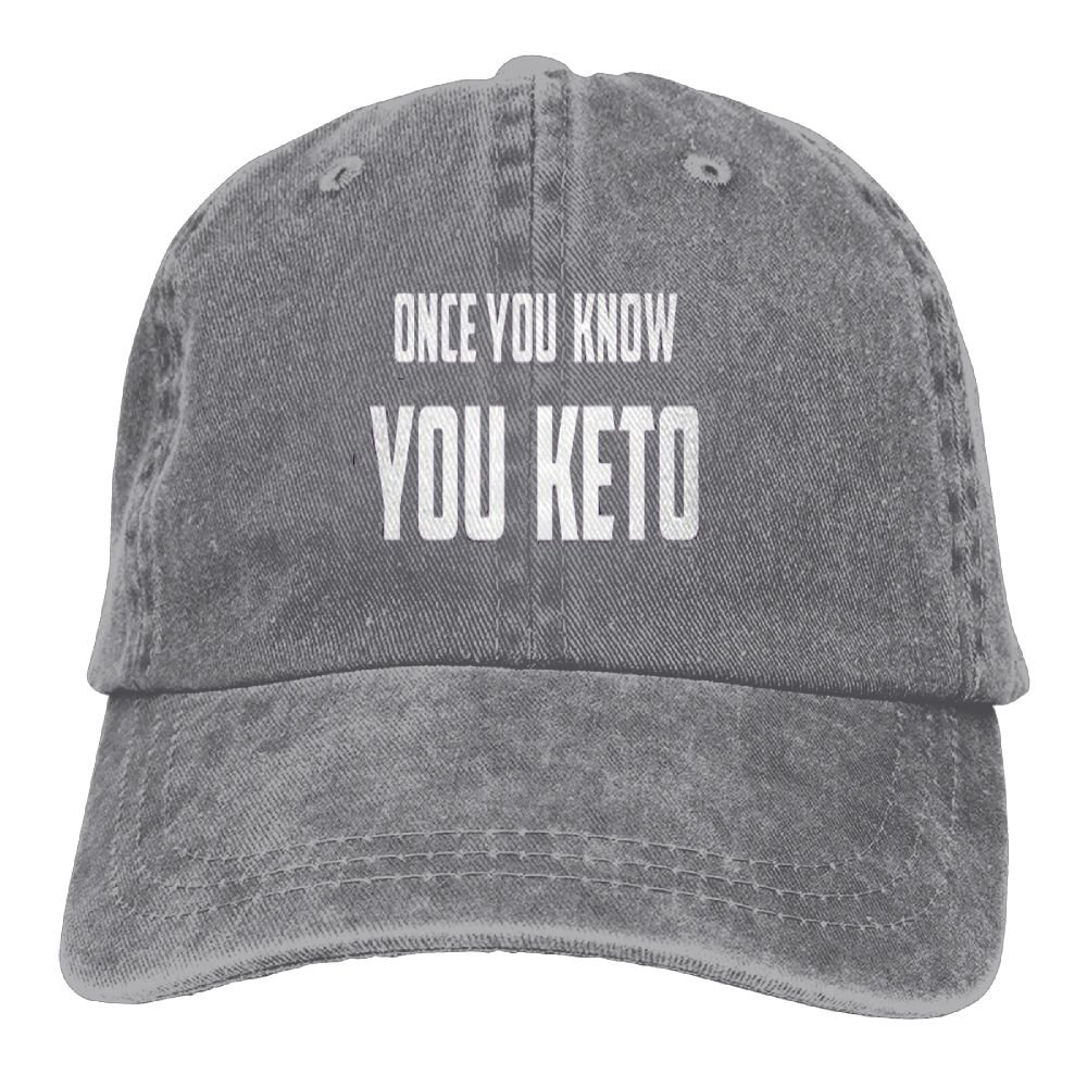 Once You Know You Keto Adjustable Washed Cap Cowboy Baseball Hat Ash