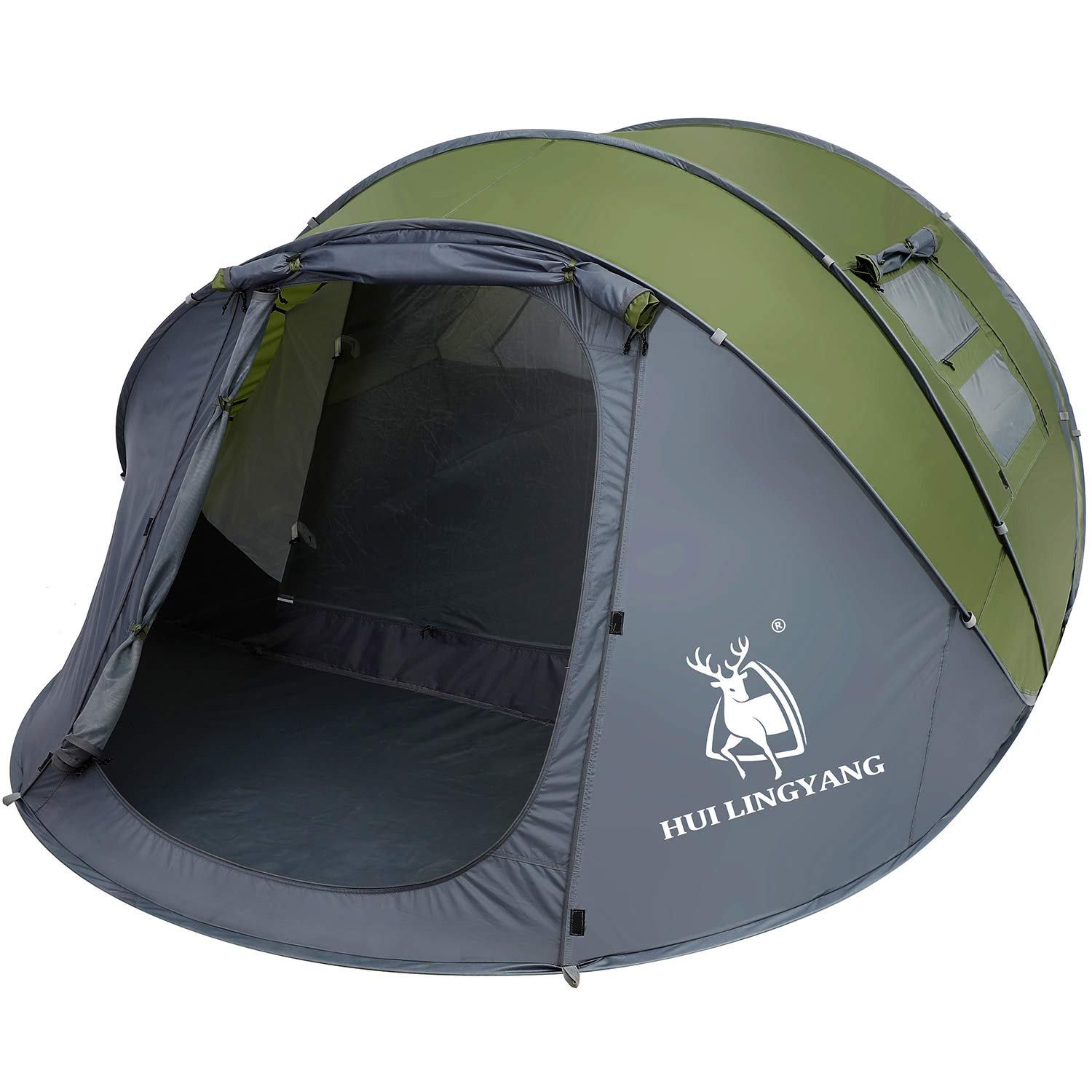 HUI LINGYANG 6 Person Easy Pop Up Tent-Automatic Setup,Waterproof, Double Layer - Instant Family Tents for Camping,Hiking & Traveling,Green by HUI LINGYANG