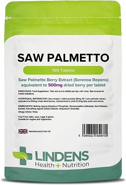 Lindens Saw Palmetto 500mg Pastillas Paquete de 100GB fabricante ...