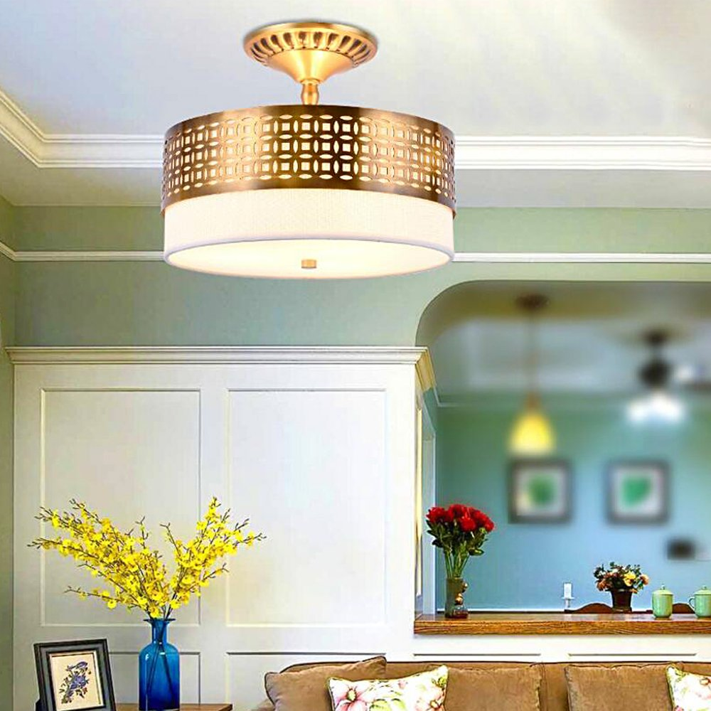 Diy FamilyModerna H65 Full Copper Ceiling Light, Tela Lino ...