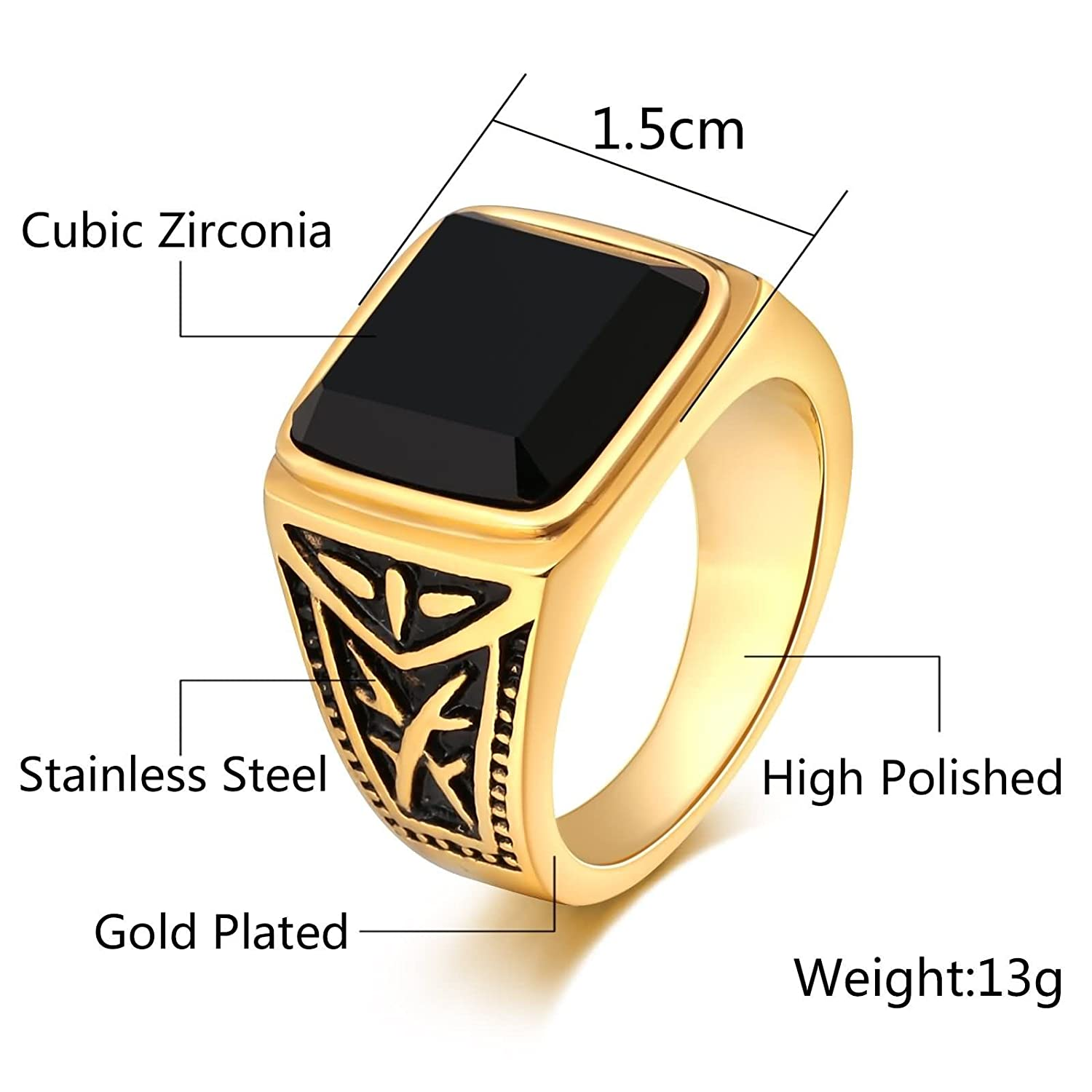AMDXD Jewellery Stainless Steel Wedding Rings for Men Square Totem Cubic Zirconia Ring