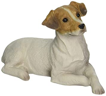Sandicast Small Size Smooth Brown and White Jack Russell Terrier Sculpture,  Lying