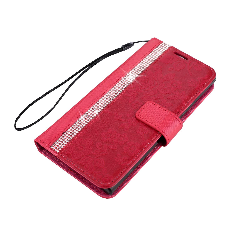 Bling Diamant PU Lede Hülle für Xperia XA1 Girlyard Luxus Glitzer Flip Wallet Case mit Blumen Rot Malerei Muster Entwurf Handyhüll Schutzhülle