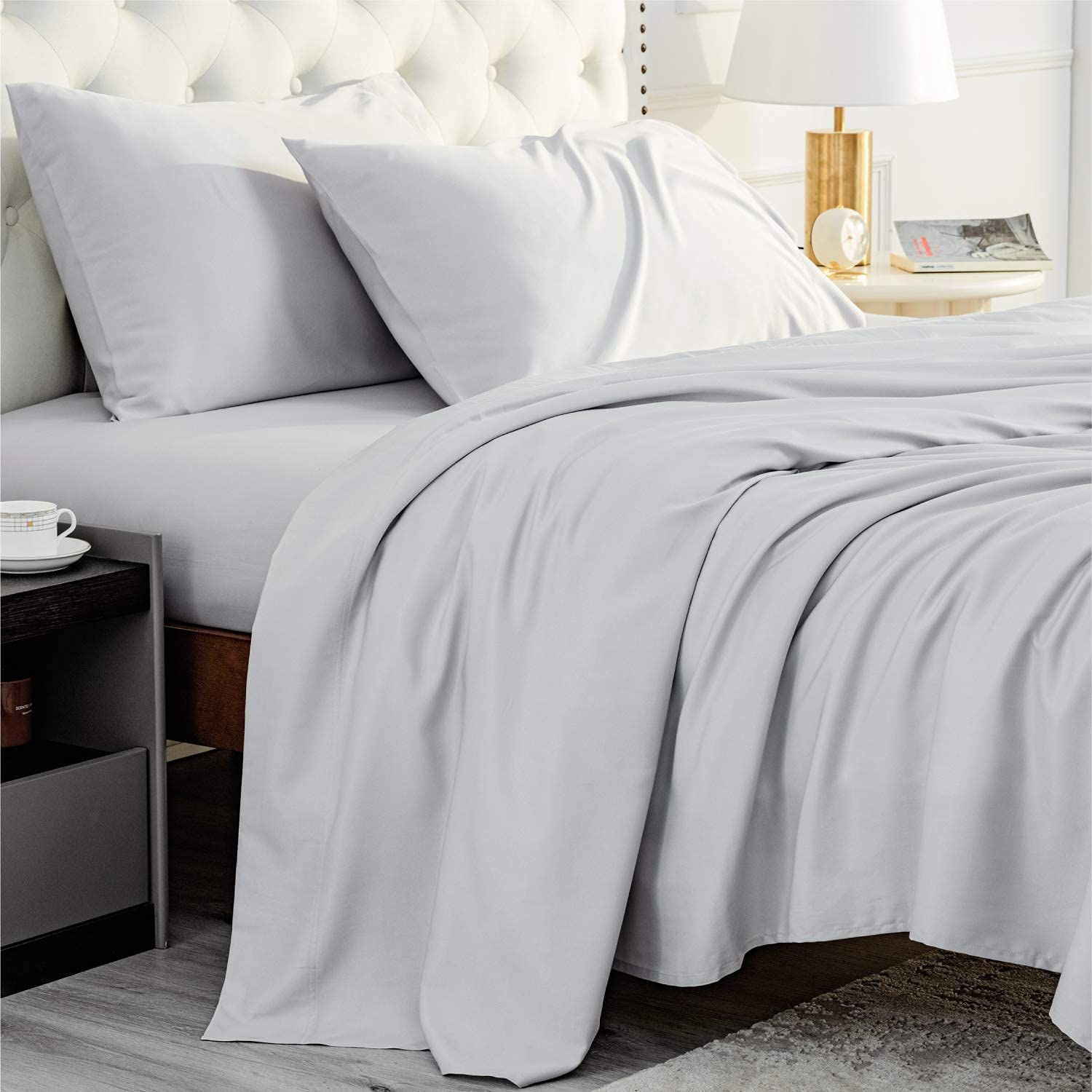 Bedsure Bamboo Sheets Queen Size Grey - Cooling Sheets 4 PC Luxury Bed Sheets Set for Night Sweat with 16 inches Deep Pocket Bamboo Viscose & Polyester