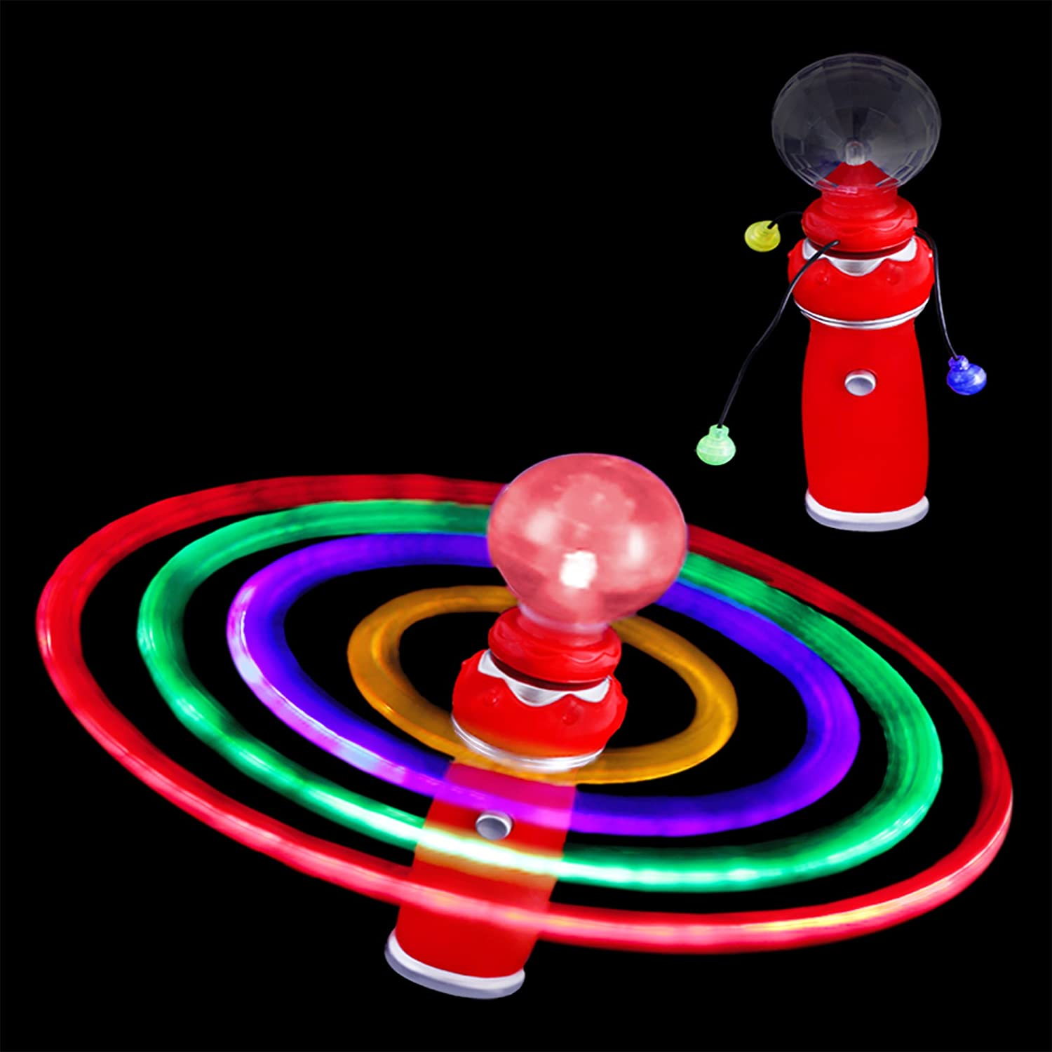 Fun Central T045 LED Galaxy Spinner Wand Light Up Spinning Toy LED Wands Red 1 Pc