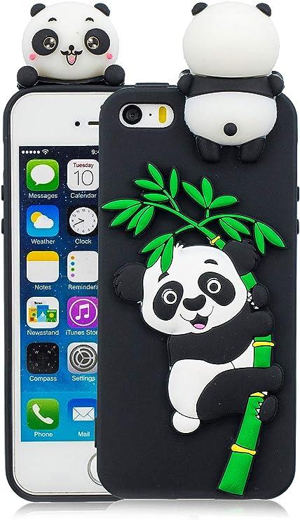 3C Collection Cover iPhone 5S Silicone Panda, Cover iPhone 5SE Silicone Panda, Cover 3D Animali in Silicone Morbido per iPhone 5 5S 5SE Custodia Nero ...