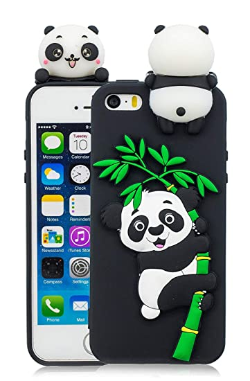 best loved 9477e afa81 iPhone 5 5S Panda Case, iPhone SE Panda Case, 3D Cartoon Cute Animal Phone  Cover for iPhone 5 5S 5SE Silicone Rubber Cases Girls, Black