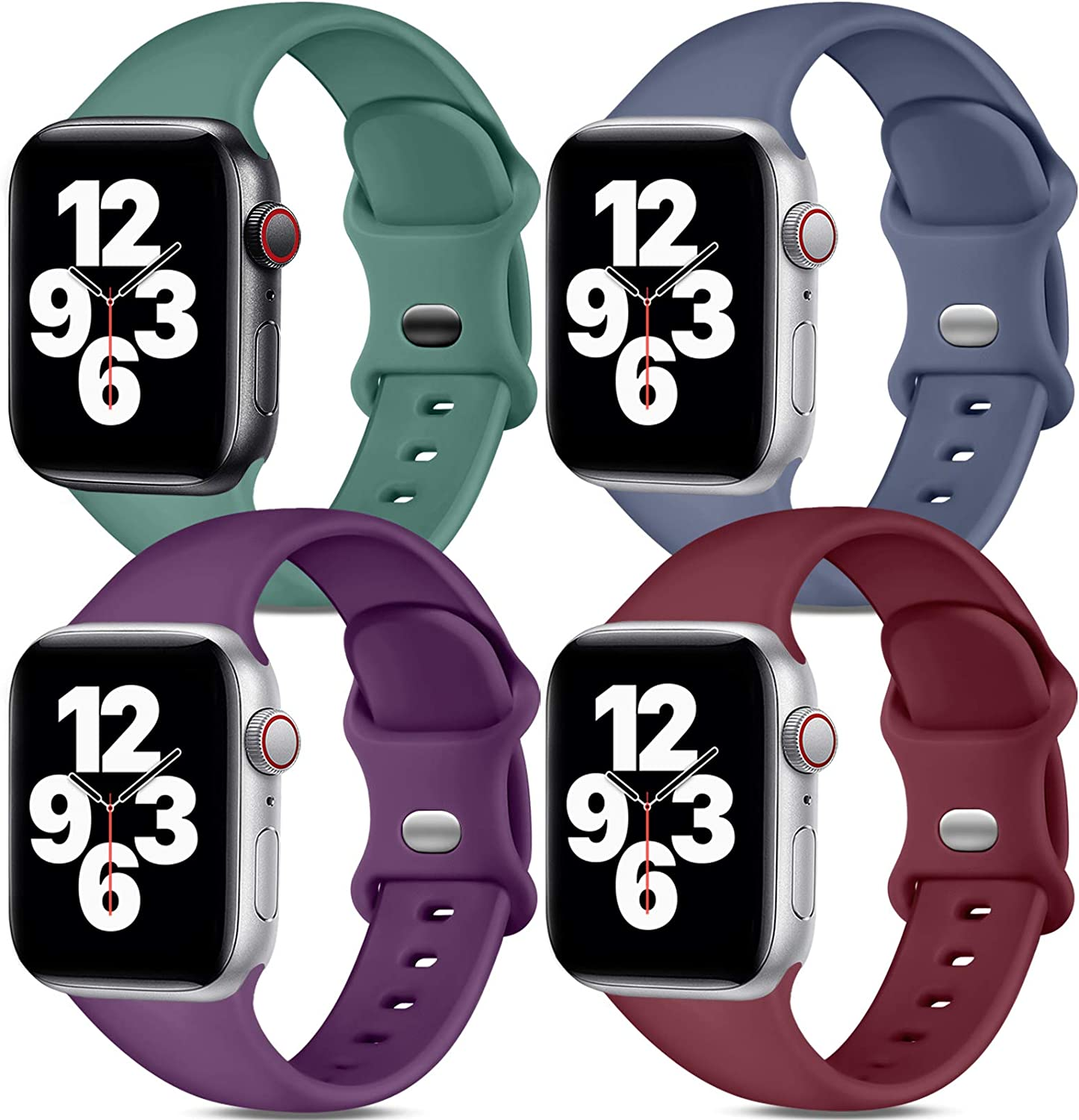 Dirrelo Band Compatible with Apple Watch Bands 38mm 40mm, [4-Pack] Soft Silicone Strap Wristbands for iWatch Series 3 5 6 4 2 1 SE Women Men, Small Ping Green, Blue, Dark Purple, Claret