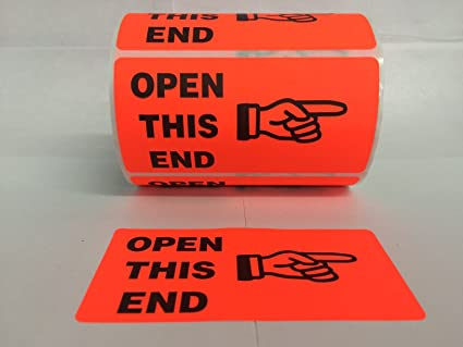 amazon com 1 roll 500 labels 4x2 red open this end finger fragile