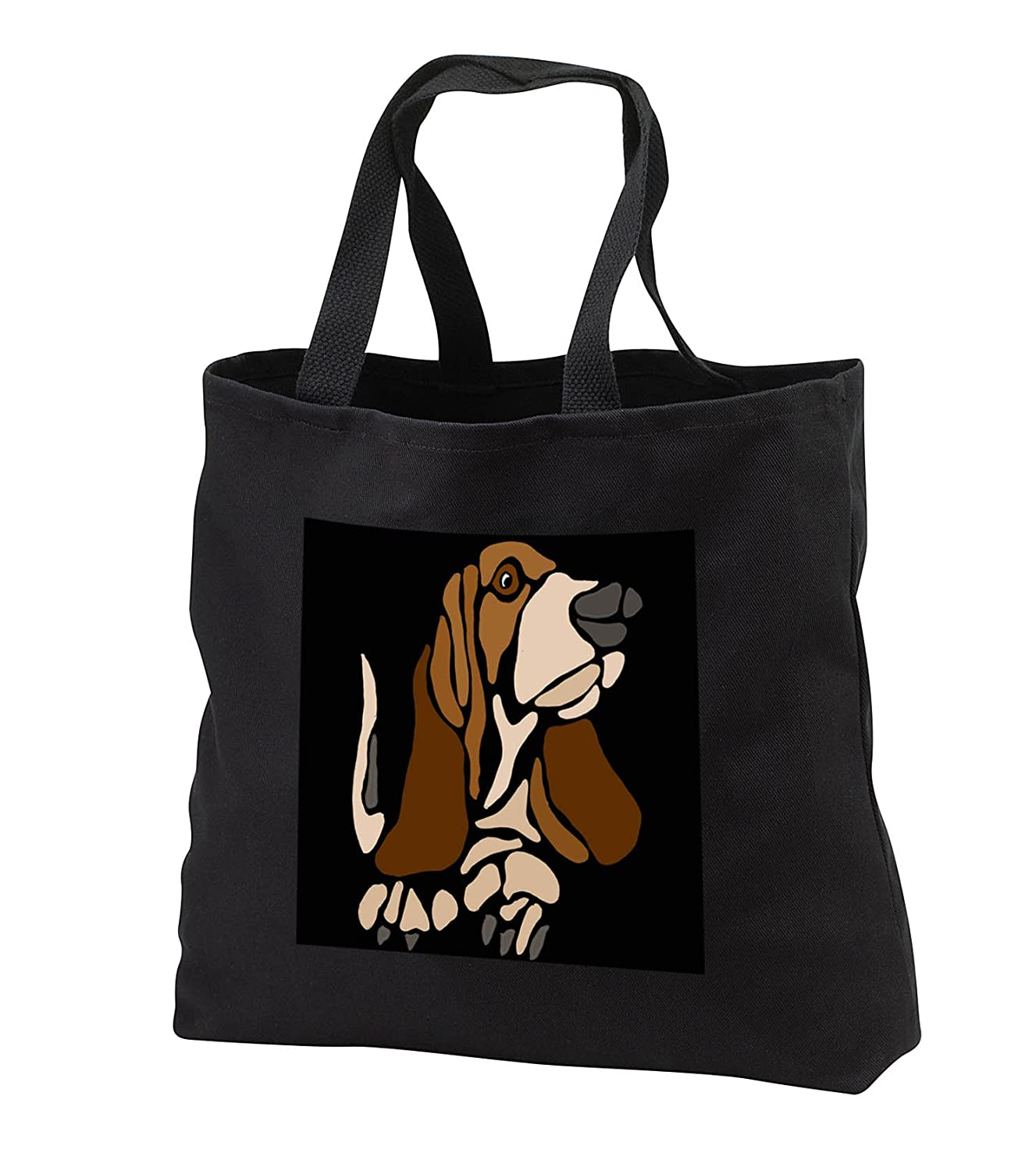 3drose All Smilesアートペット – Funny Artistic Basset Hound Puppy Dog抽象アート – Tote Bags B072L3M7TT  Black Tote Bag 14w x 14h x 3d