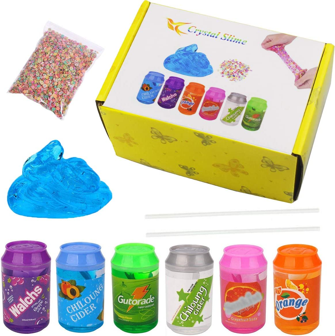 BESTZY Clear Crystal Slime - 6 Cans Fluffy Slime with 2 Straws and 1 Pack Fruit Slice, Super Soft Non-Sticky Putty Toy, for Boys and Girls