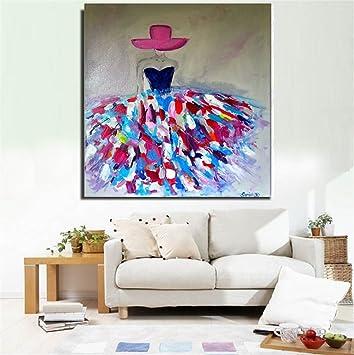 Moderne Kunst Malerei Handgemalte Ölgemälde Hut Frau Rahmenlose Leinwand Schlafzimmer  Wohnzimmer Wandkunst Hintergrund Dekoration Wand Fertig