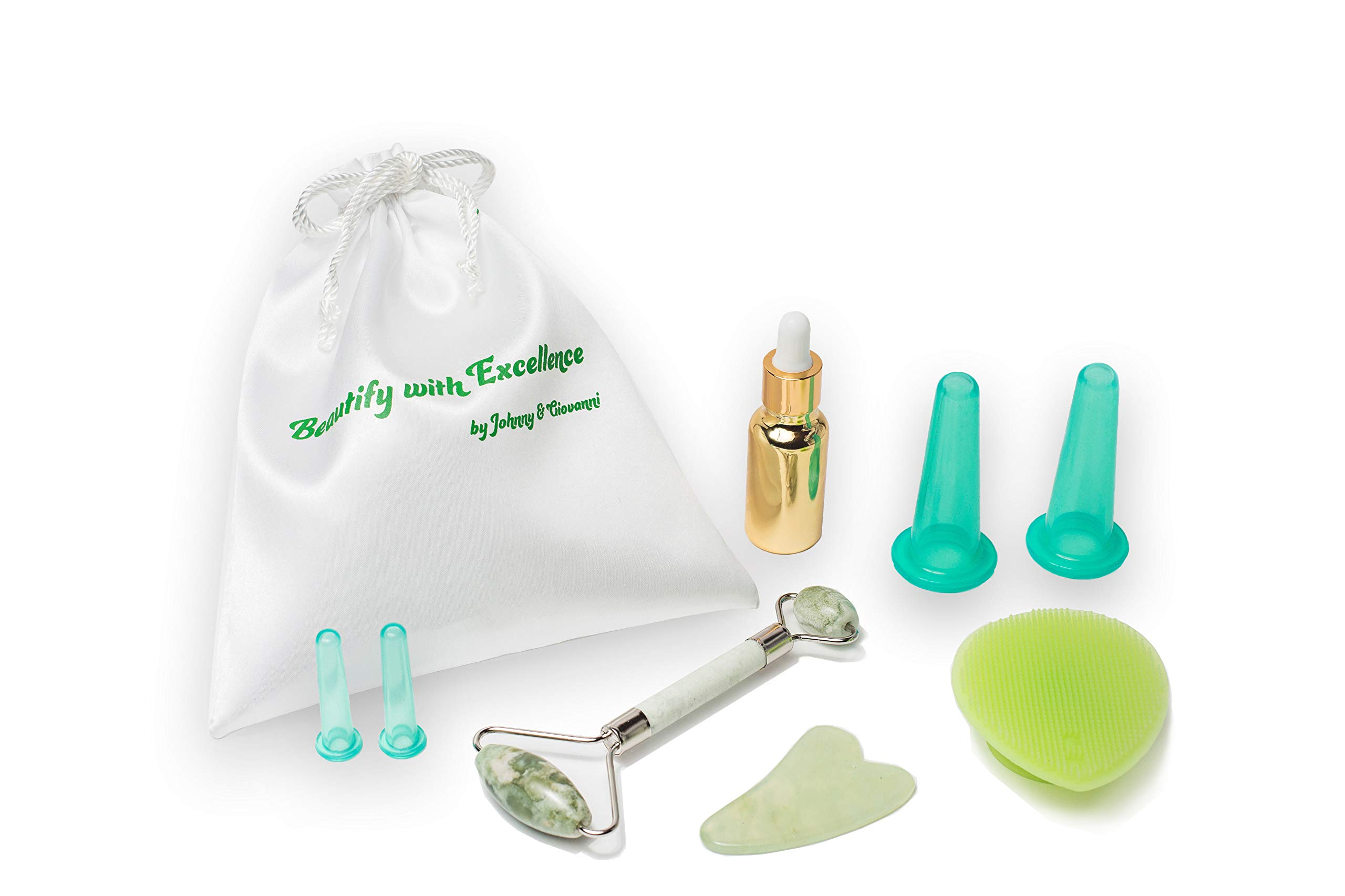Facial Cupping Set Cupping Therapy Sets Jade Roller and Gua Sha Massager Skin Scrapper Chamomile Essential Oil & Silicone Cleansing Brush