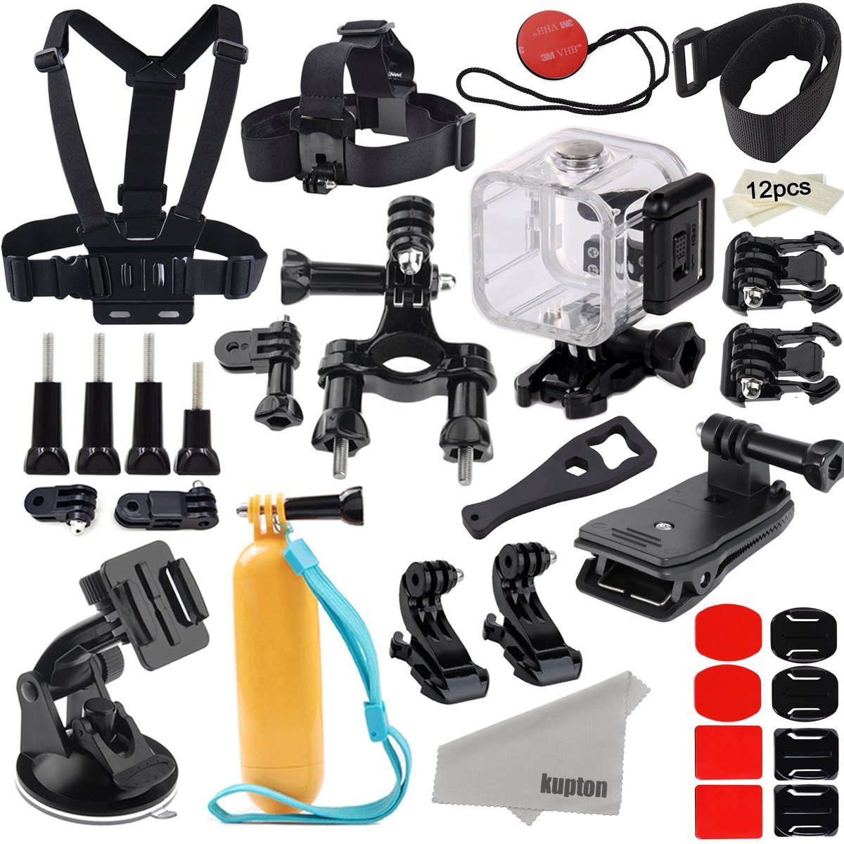 Kupton Accessories for GoPro Hero 5 Session/Hero Session Bundle Action Camcorder Camera Accessories Mounts Waterproof Housing Case Chest Head Bike Car Backpack Clip Mount