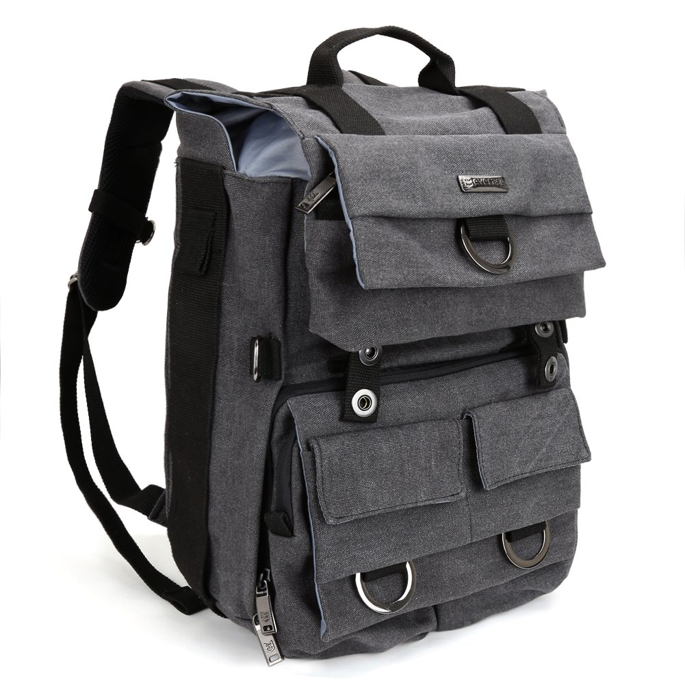 Camera Backpack, Evecase Canvas DSLR Camera Travel Backpack with 14 inch Laptop/Tablet Compartment For Digital SLR interchangeable Lens, Full Frame, 4/3 Micro Four Third, Mirrorless, Film Camera by Evecase