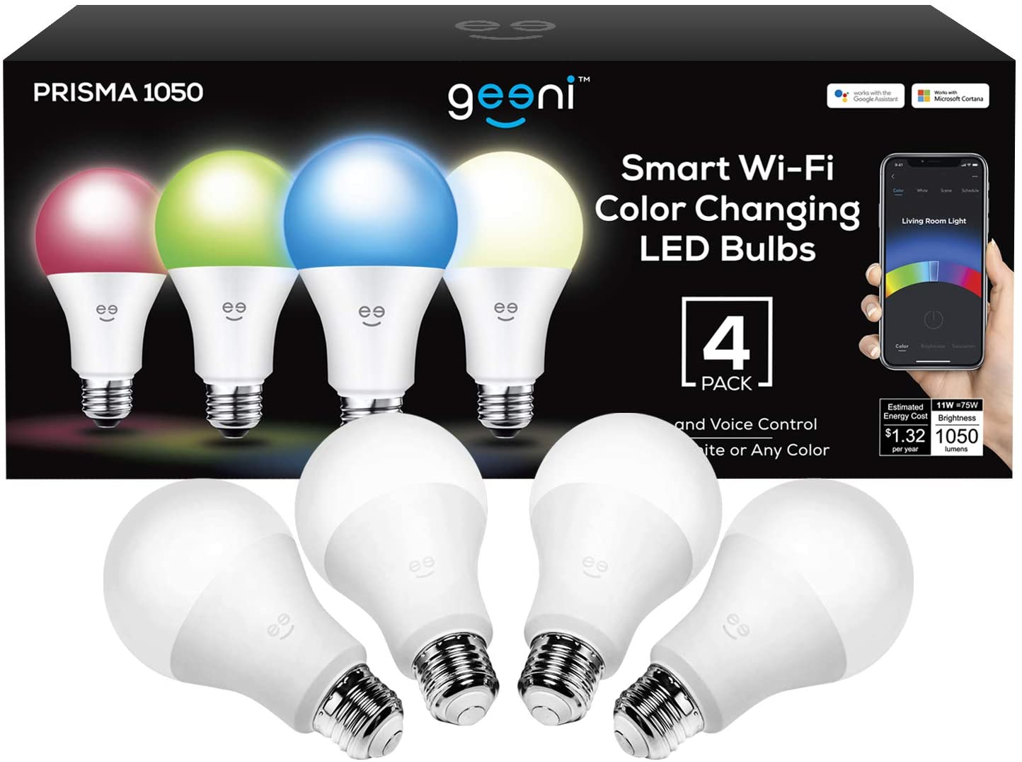 Geeni Prisma 1050 Wi-Fi Multicolor Light Bulbs (2700K), 4-Pack – Dimmable LED Bulbs, 75-Watt Equivalent – No Hub Required – Works with  Alexa, Google Assistant, Microsoft Cortana - -