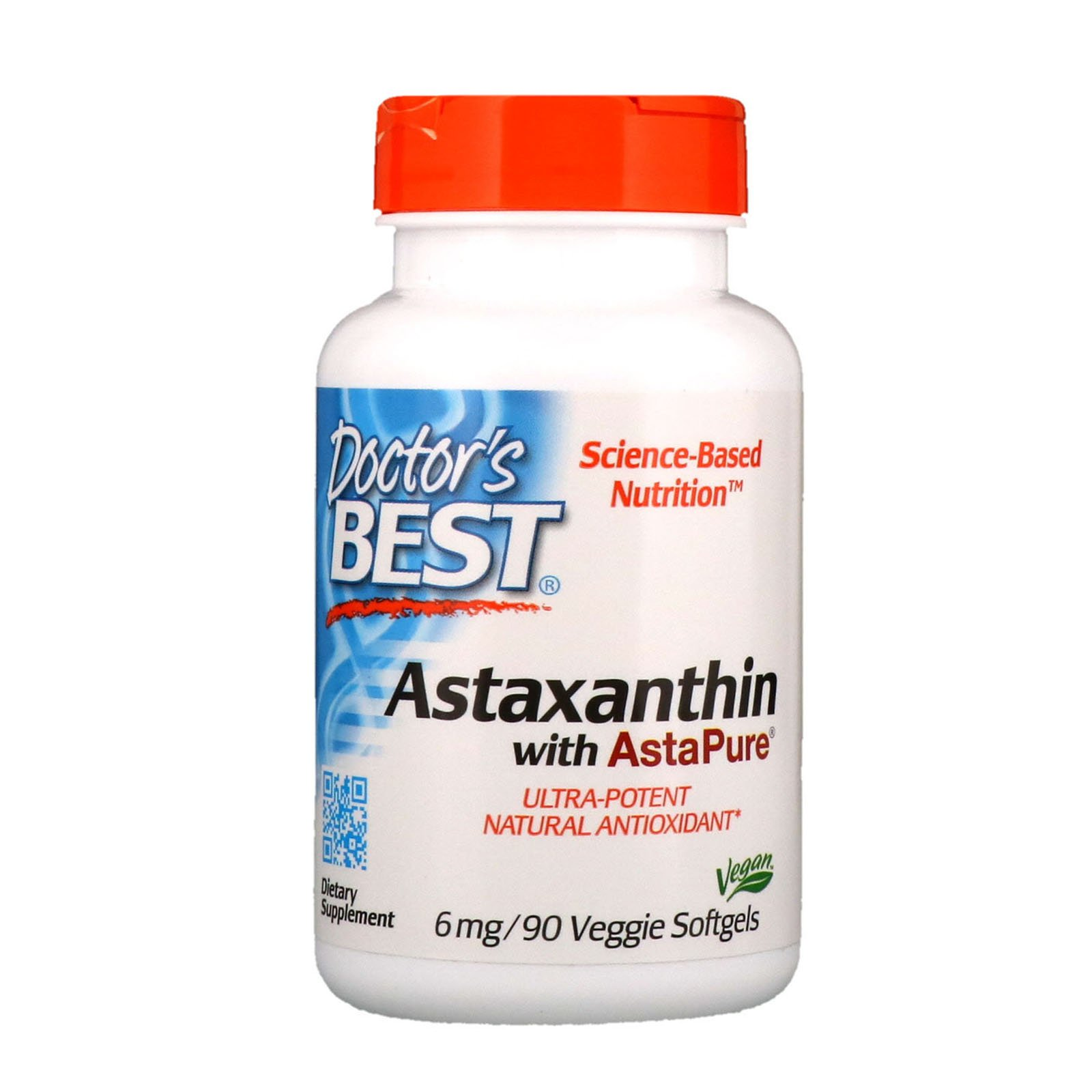 Doctor's Best Astaxanthin, Non-GMO, Gluten Free, Vegan, Soy Free, Powerful Antioxidant, 6 mg, 90 Veggie Softgels
