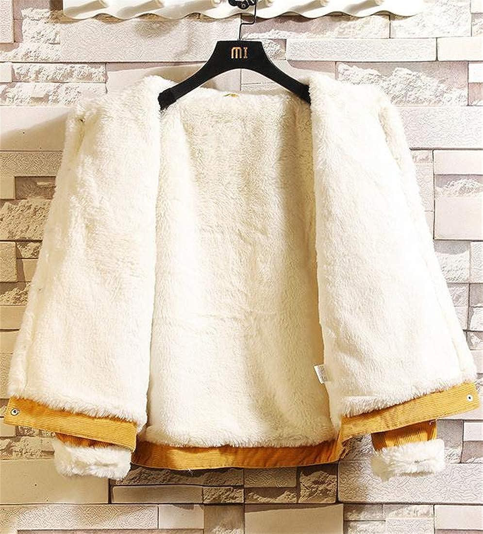 Joe Wenko Men Fleece Winter Corduroy Plus Size Thick Parka Coat Jacket