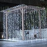 LED festivo luces de cortina, cortina hielo luces boda decoraciones de fiesta casa jardín recámara decoraciones de pared, F.warm White, Una talla