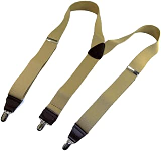 product image for Holdup Casual Series Y-back Suspenders in Sand Dunes Tan color with chrome Silver-tone No-slip Patented center pin Clips