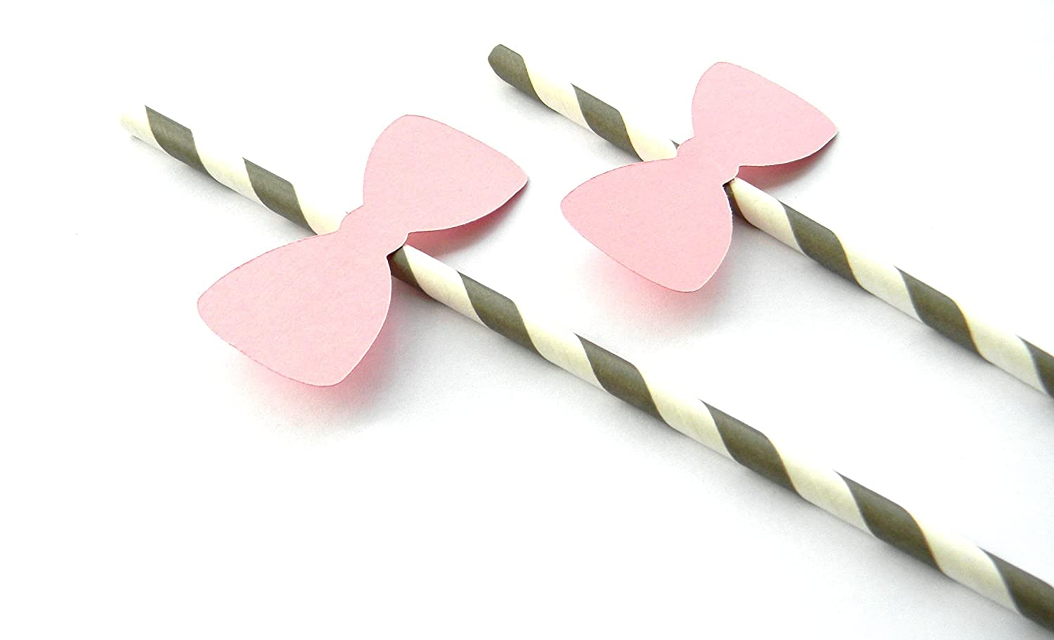 Set of 12 Pink Bow Party Straws