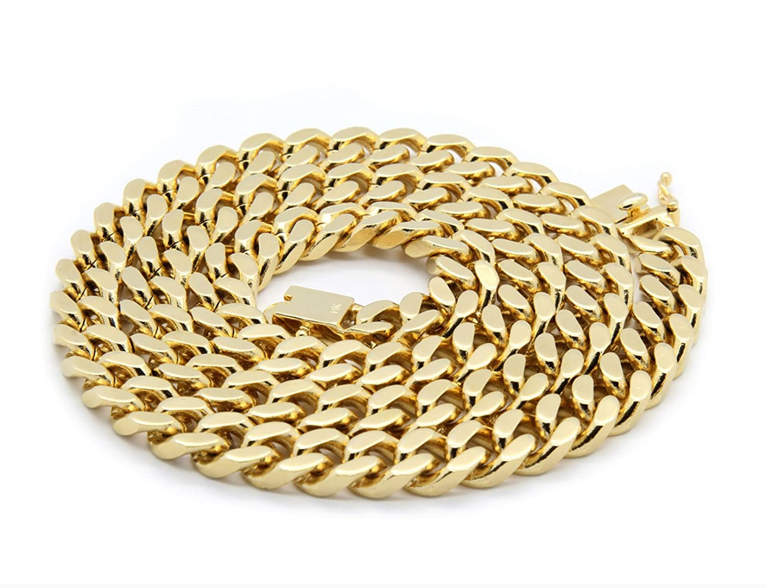71395cd1cf5d9 14K Gold Chain Necklace for men 11MM. Miami Cuban Link w/ Real Solid ...