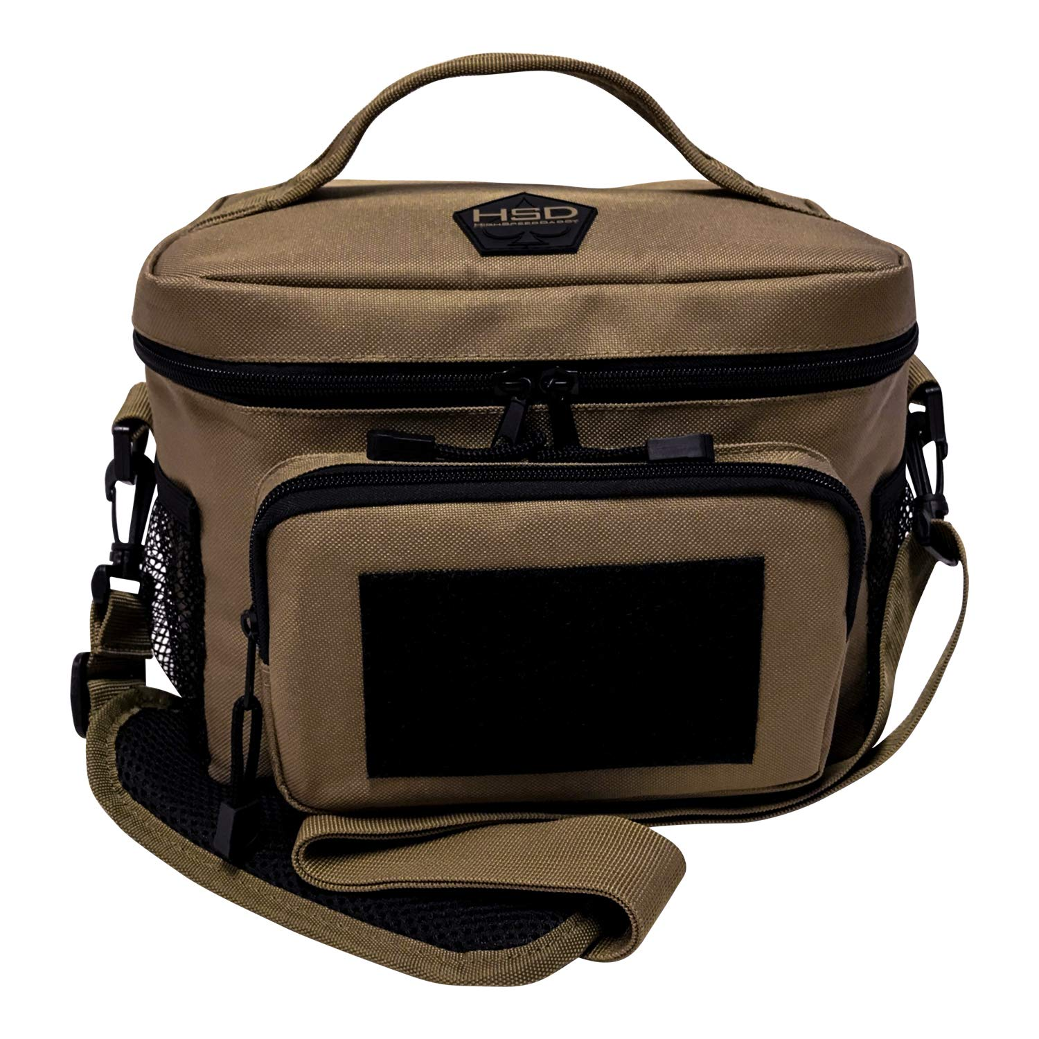 HSD Lunch Bag, Insulated Cooler, Thermal Lunch Box Tote with MOLLE/PALS Webbing, Adjustable Padded Shoulder Strap, for Tactical Men Women Adults and Boys Girls Kids (Coyote Brown)
