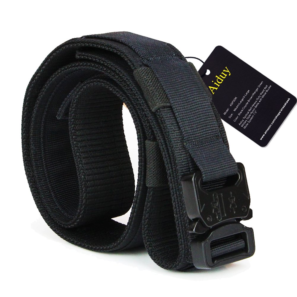 Aiduy 1.5'' Tactical Duty Belt with Buckle for EDC Molle equipment 1000D Nylon (Black, Medium)
