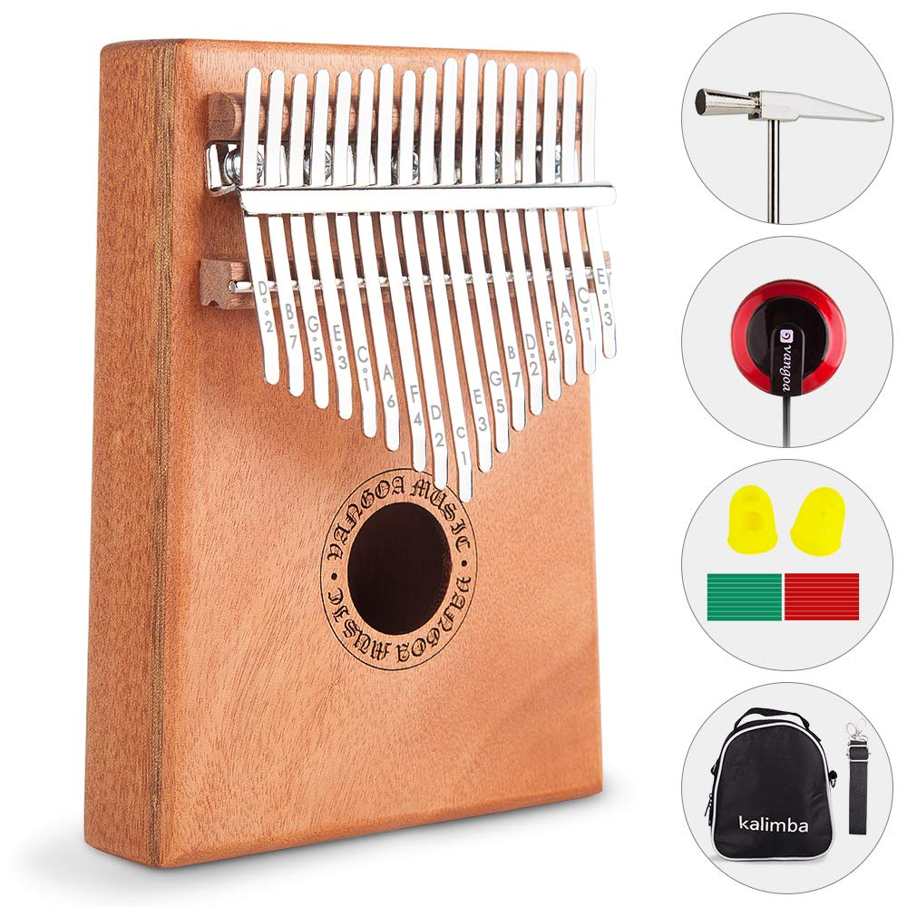 Vangoa Kalimba 17 keys African Thumb Piano kit with Rubber Finger Guards, Tuning Hammer, Carry Bag, Cloth bag, Pickup and Key stickers