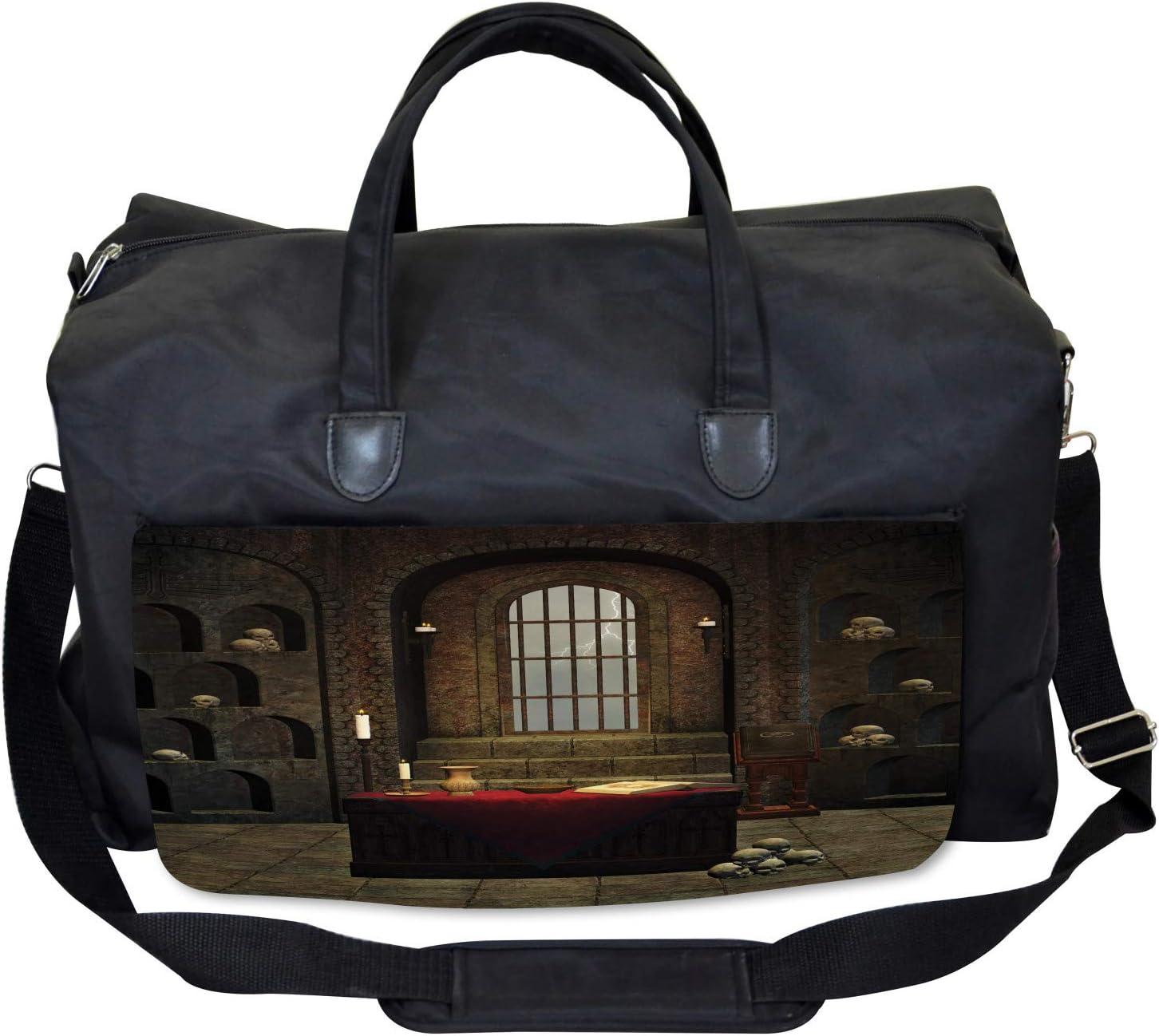 Ambesonne Gothic Gym Bag Large Weekender Carry-on Mystical Room Skulls