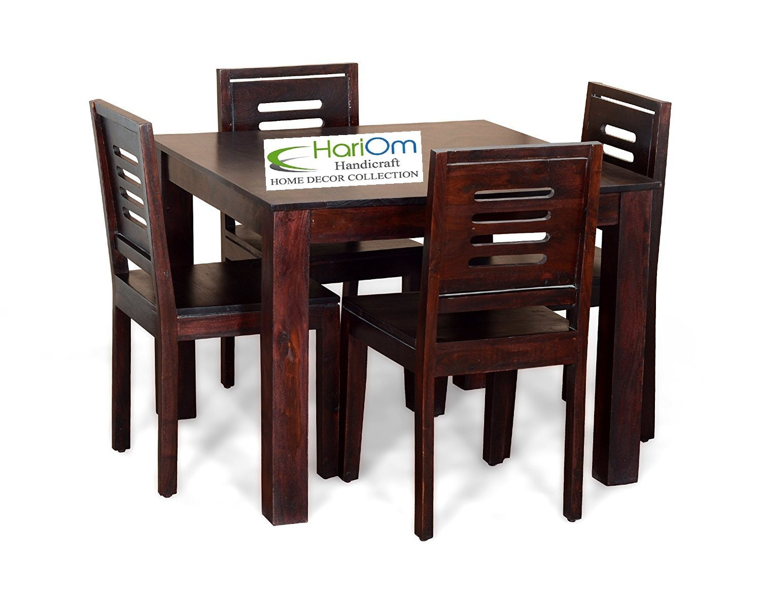 Hariom handicraft sheesham wood wooden dining set 4 seater dining table with chairs mahogany finish amazon in home kitchen