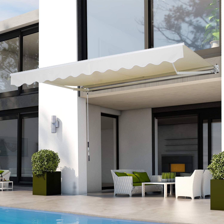 Outsunny Toldo para Patio Balcón Terraza y Jardín con Brazo articulado de Aluminio y Tela de Poliéster de 280g/m2 395x245 cm (Blanco)