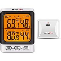 ThermoPro TP62 Higrómetro Inalámbrico Digital Termómetro para Interiore y Exteriore Medidor de Temperatura y Humedad con…