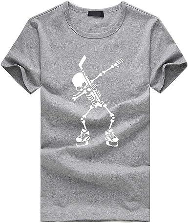 OPAKY Camiseta para Hombre Moda Hombre Casual Verano Cráneo Imprimir Manga Corta O-Cuello Tops Blusa Camisetas Hombre Camiseta de Manga Corta Estampada Cuello Redondo Print Estilo Casual: Amazon.es: Ropa y accesorios