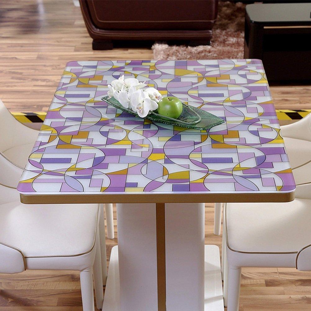 JIANFEI Mantel Rectangular a Prueba de Agua geometría práctico PVC translúcido púrpura, 11 tamaños Opcionales (Tamaño : 90  140cm)