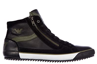 7c2d146c04a Emporio Armani EA7 Men s Shoes high top Leather Trainers Sneakers vulky Zip  Black UK Size 8