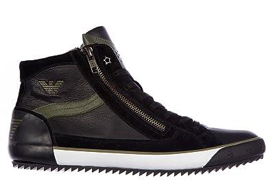 EA7 Emporio Armani Scarpe Paire de chaussures montantes pour homme en cuir  Noir - - Noir 7782f0c93092