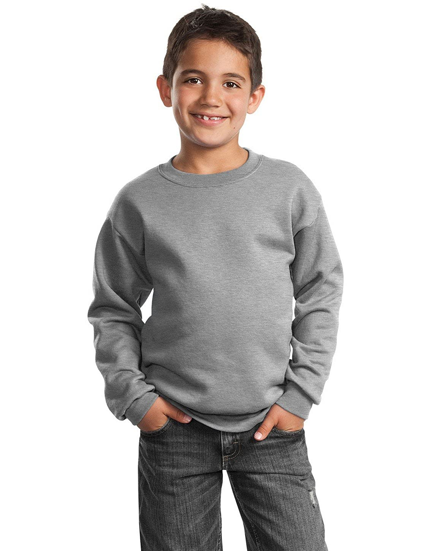 XS Athletic Heather Port /& Company PC90Y Youth Crewneck Sweatshirt