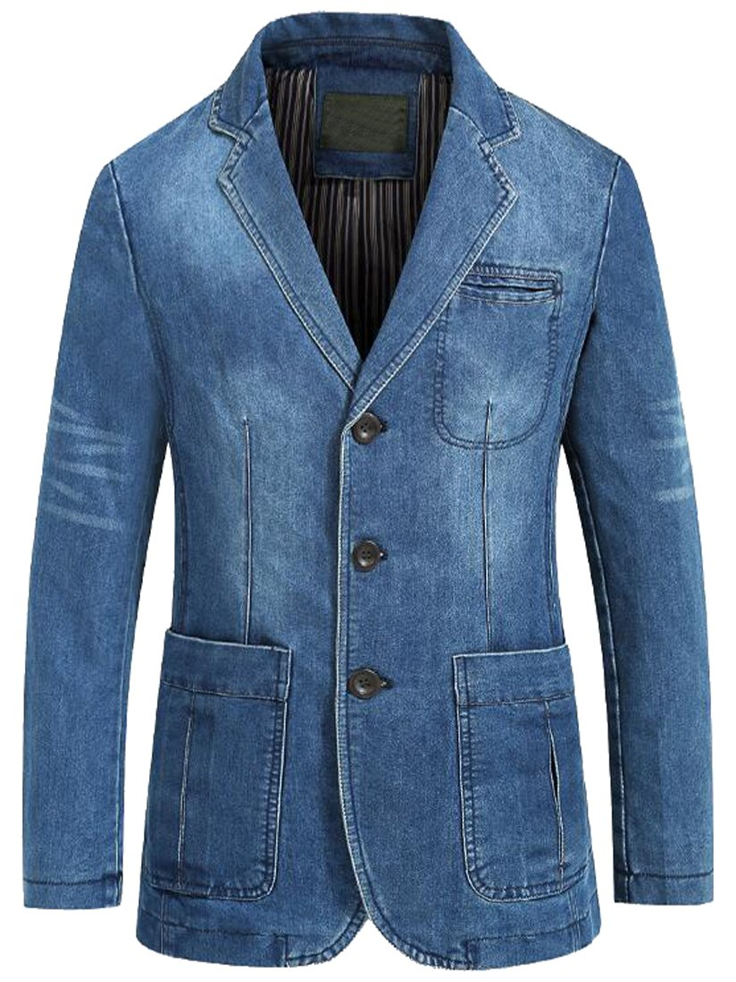LD Men Casual Business Blazer Slim Fit Washed Denim Jacket Coat 2 2XL by LD-men clothes