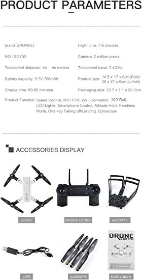 Cooljun SG700 Quadcopter Drone 2.4 Ghz 4 CH 360 ° Hold WiFi 2.0 MP ...