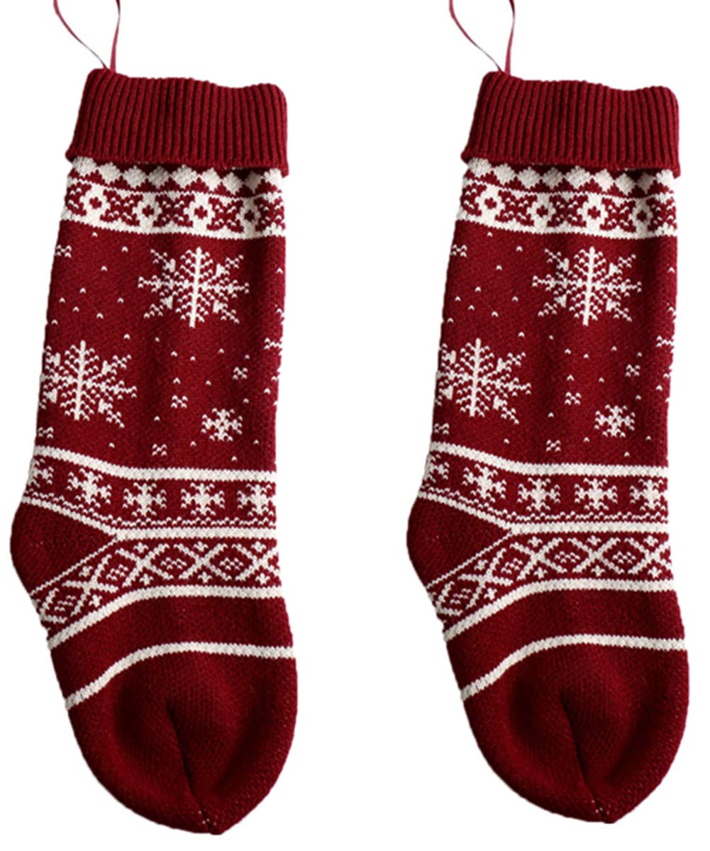 RUOYUCL 18 Large Xmas Tree& Snowflake Knit Christmas Stockings 2 Pack to 4 Pack RUO5884
