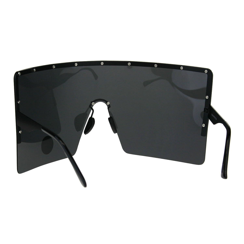 103c2ee802 Amazon.com  Polarized Extra Large Face Mask Futuristic Shield Sunglasses  All Black  Clothing
