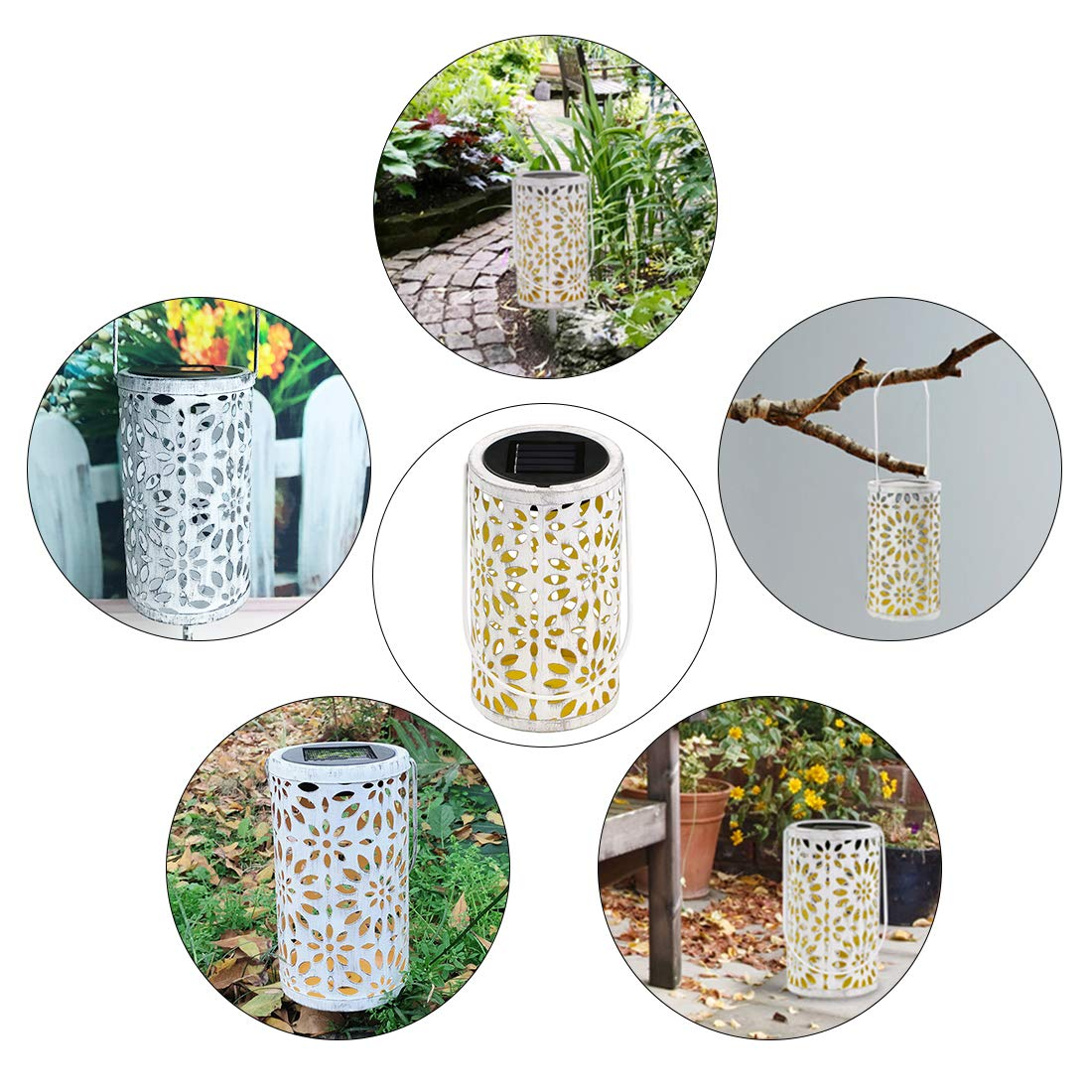 Solar Light Lanterns Outdoor LED Solar Garden Lanterns, Hanging Lamp Carved Flowers with Retro Cylindrical Chrysanthemum, Waterproof Warm White Night Light for Garden Path Ornaments