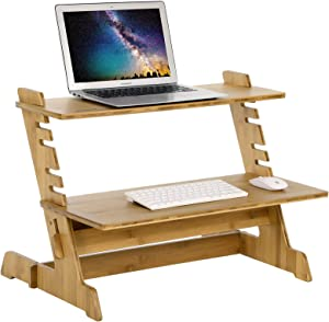 SONGMICS Bamboo Standing Computer Desk Monitor Stand Riser Stand Steady Up Adjustable Height Desktop Laptop Workstation Converter Natural ULLD97N