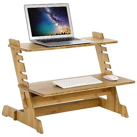 Pleasing Songmics Bamboo Standing Computer Desk Monitor Stand Riser Stand Steady Up Adjustable Height Desktop Laptop Workstation Converter Natural Ulld97N Home Interior And Landscaping Ponolsignezvosmurscom