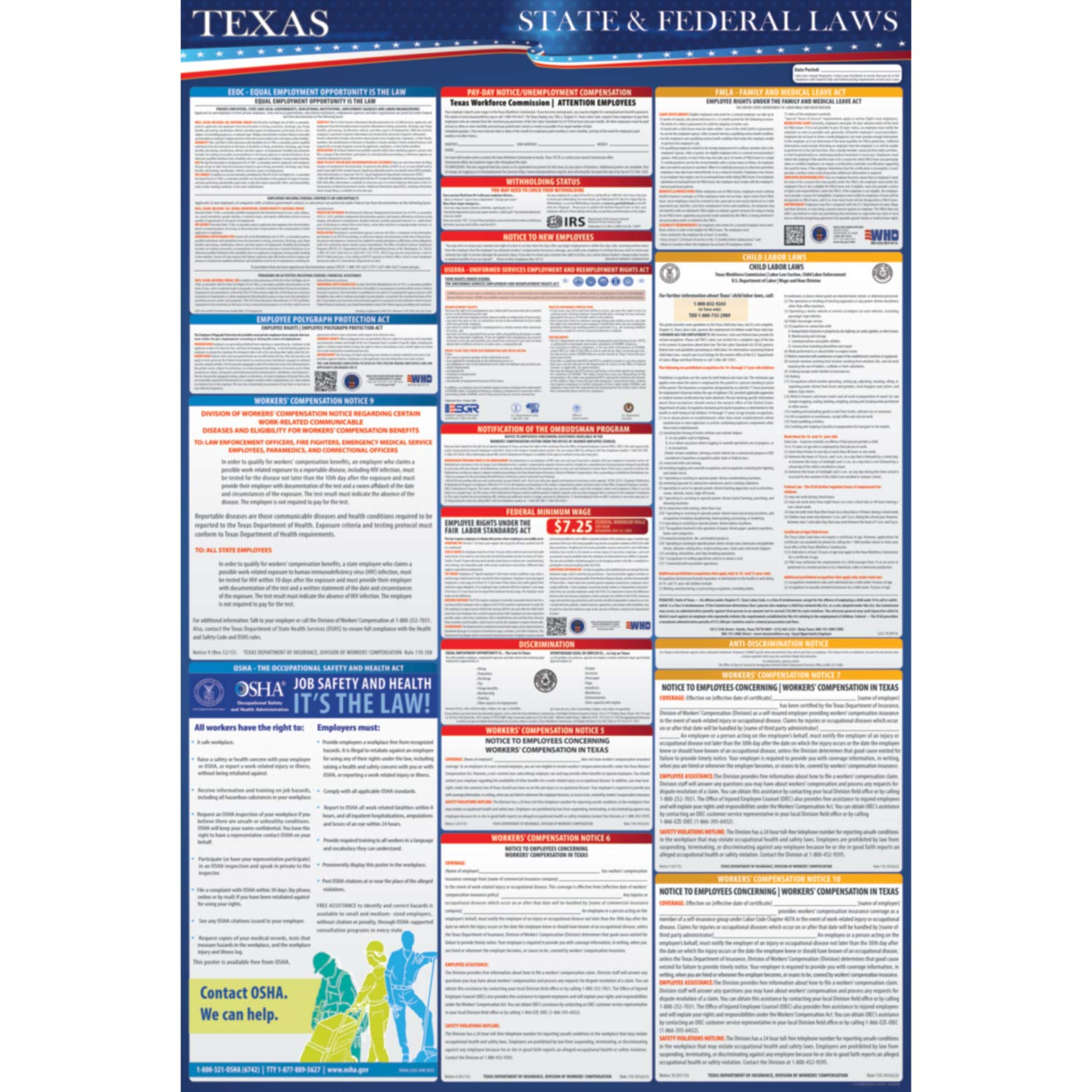 2019 Texas State and Federal Labor Laws Poster - OSHA Workplace Compliant  24